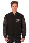 Carolina Hurricanes Wool & Leather Reversible Jacket w/ Embroidered Logos - Black