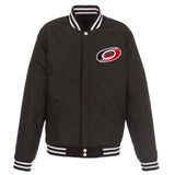 Carolina Hurricanes JH Design Reversible Fleece Jacket with Faux Leather Sleeves - Black/White - JH Design