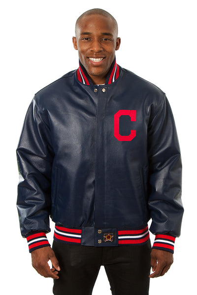Cleveland Indians Full Leather Jacket - Navy