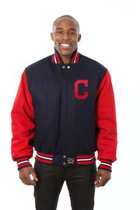 Cleveland Indians Two-Tone Wool Jacket w/ Handcrafted Leather Logos - Navy/Red - JH Design