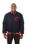 Cleveland Indians Wool Jacket w/ Handcrafted Leather Logos - Navy