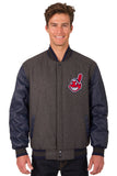 Cleveland Indians Wool & Leather Reversible Jacket w/ Embroidered Logos - Charcoal/Navy