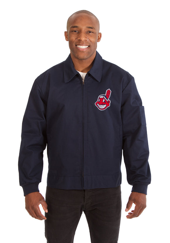 Cleveland Indians Cotton Twill Workwear Jacket - Navy - JH Design
