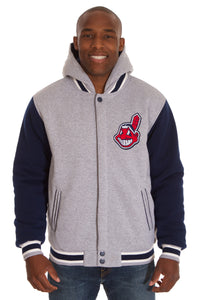 Cleveland Indians Two-Tone Reversible Fleece Hooded Jacket - Gray/Navy - JH Design