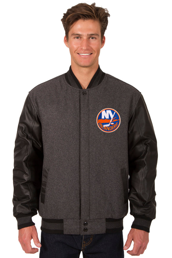 New York Islanders Wool & Leather Reversible Jacket w/ Embroidered Logos - Charcoal/Black - JH Design