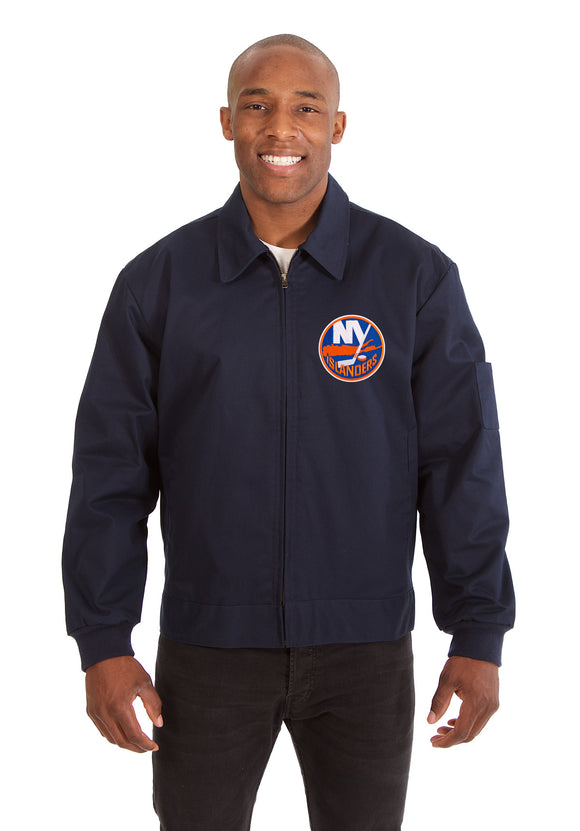 New York Islanders Cotton Twill Workwear Jacket - Navy - JH Design
