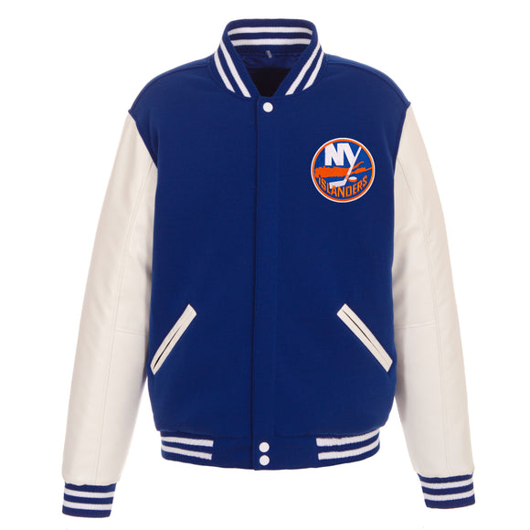 New York Islanders JH Design Reversible Fleece Jacket with Faux Leather Sleeves - Royal/White - JH Design