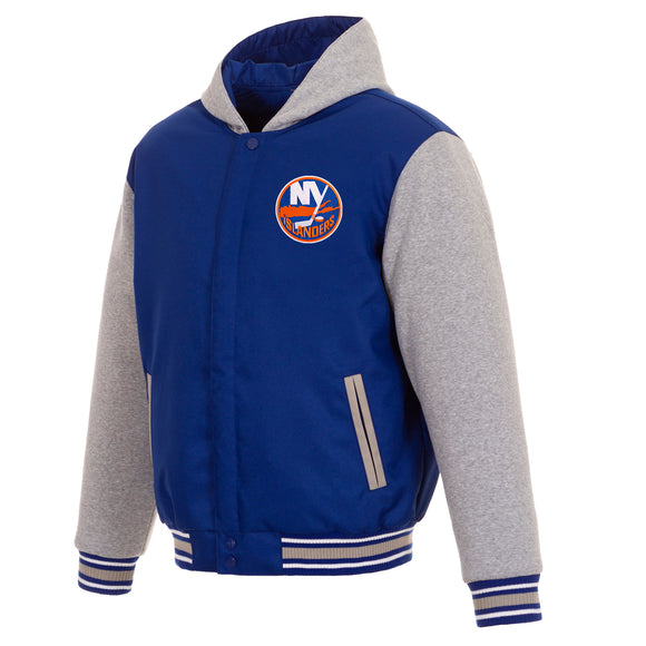 New York Islanders Two-Tone Reversible Fleece Hooded Jacket - Royal/Grey - JH Design