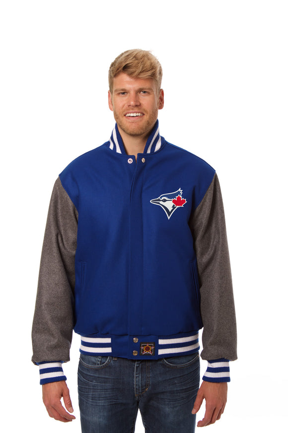Toronto Blue Jays Two-Tone Wool Jacket w/ Handcrafted Leather Logos - Royal/Gray - JH Design