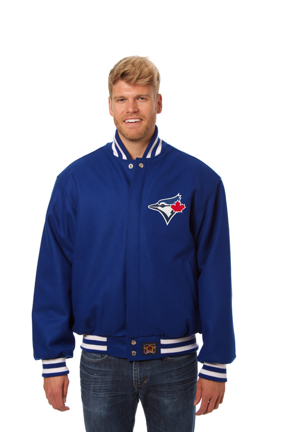Toronto Blue Jays Wool Jacket w/ Handcrafted Leather Logos - Royal - JH Design