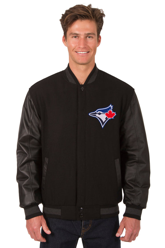 Toronto Blue Jays Wool & Leather Reversible Jacket w/ Embroidered Logos - Black