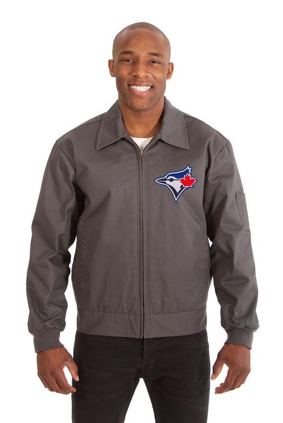 Toronto Blue Jays Cotton Twill Workwear Jacket - Charcoal - JH Design