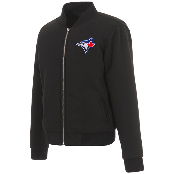 Toronto Blue Jays JH Design Reversible Women Fleece Jacket - Black - JH Design