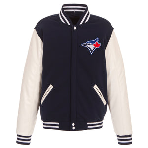 Toronto Blue Jays - JH Design Reversible Fleece Jacket with Faux Leather Sleeves - Navy/White - JH Design