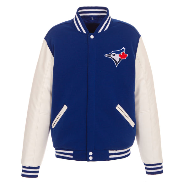Toronto Blue Jays - JH Design Reversible Fleece Jacket with Faux Leather Sleeves - Royal/White - JH Design
