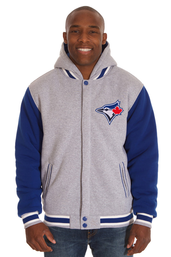 Toronto Blue Jays Two-Tone Reversible Fleece Hooded Jacket - Gray/Royal