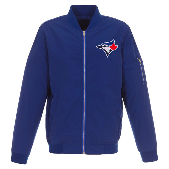 Toronto Blue Jays JH Design Lightweight Nylon Bomber Jacket – Royal