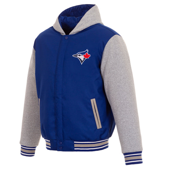 Toronto Blue Jays Two-Tone Reversible Fleece Hooded Jacket - Royal/Grey - JH Design