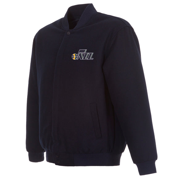 Utah Jazz Reversible Wool Jacket - Navy - JH Design