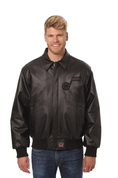 Utah Jazz Full Leather Jacket - Black/Black