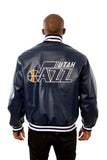 Utah Jazz Full Leather Jacket - Navy - JH Design