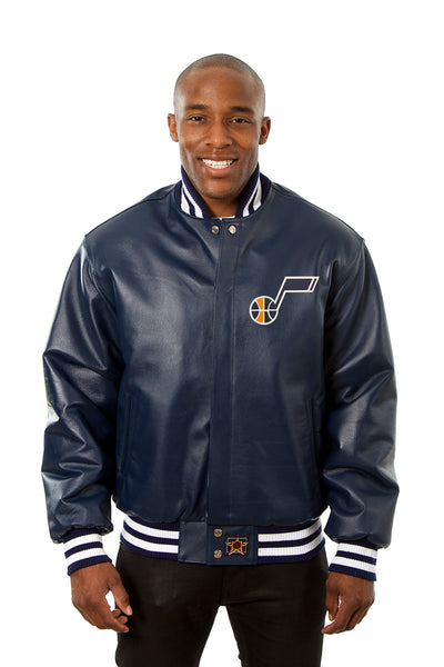 Utah Jazz Full Leather Jacket - Navy