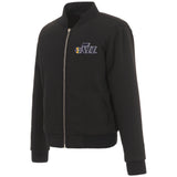 Utah Jazz JH Design Reversible Women Fleece Jacket - Black - JH Design