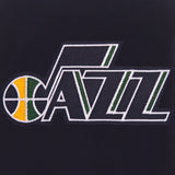 Utah Jazz - JH Design Reversible Fleece Jacket with Faux Leather Sleeves - Navy/White - JH Design