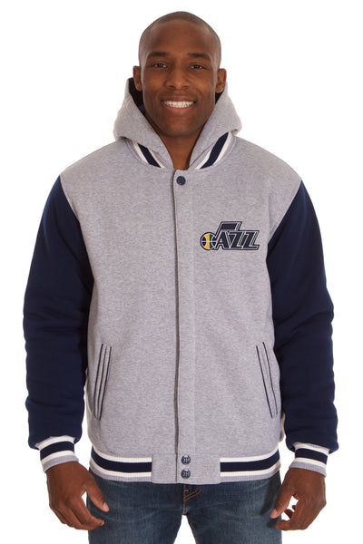 Utah Jazz Two-Tone Reversible Fleece Hooded Jacket - Gray/Navy