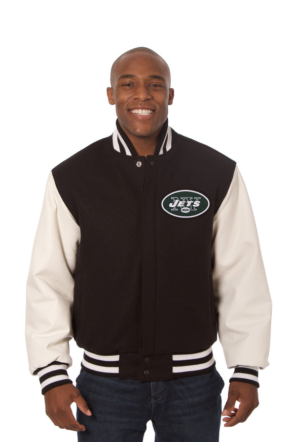 New York Jets Two-Tone Wool and Leather Jacket - Black/White - JH Design