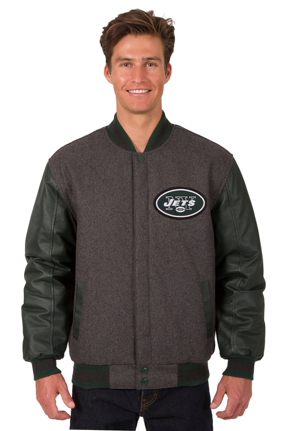 New York Jets Wool & Leather Reversible Jacket w/ Embroidered Logos - Charcoal/Green - JH Design