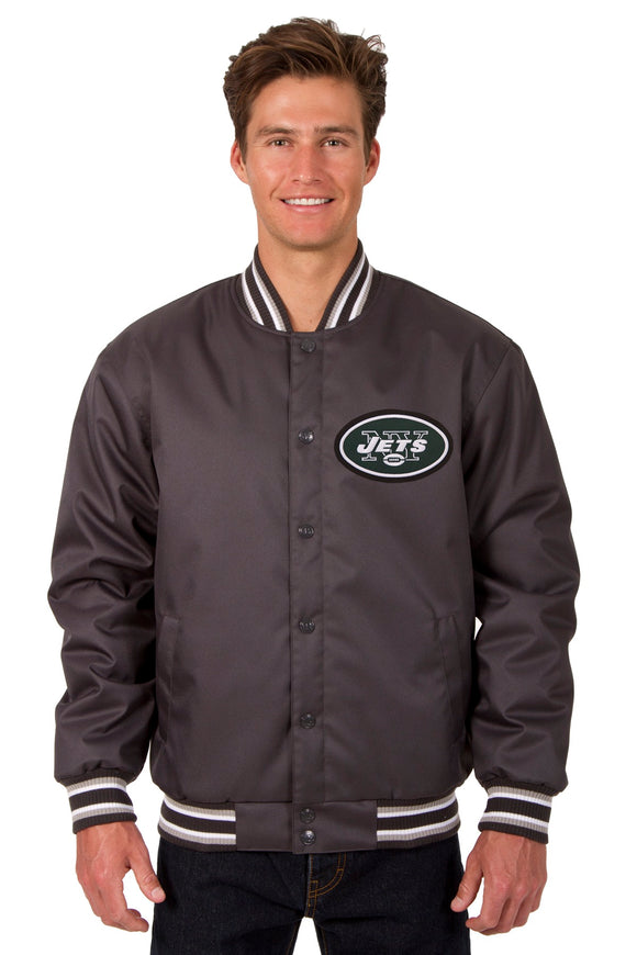 New York Jets Poly Twill Varsity Jacket - Charcoal - JH Design