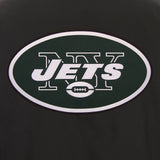 New York Jets Poly Twill Varsity Jacket - Black - JH Design