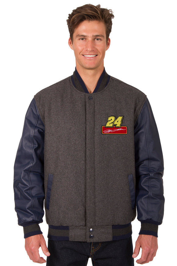 Jeff Gordon Wool & Leather Varsity Jacket - Charcoal/Navy - JH Design