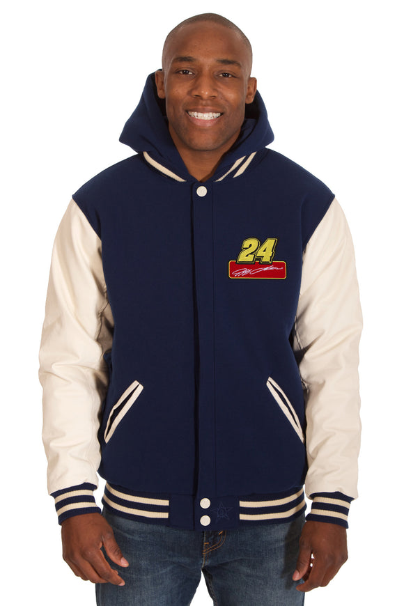 Jeff Gordon Two-Tone Reversible Fleece & PU Leather Hooded Jacket - Navy/Cream