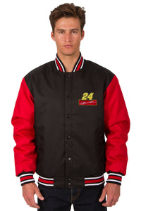 Jeff Gordon Poly Twill Varsity Jacket - Black/Red