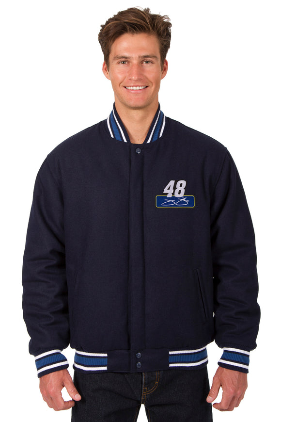 Jimmie Johnson Wool Varsity Jacket - Navy - JH Design