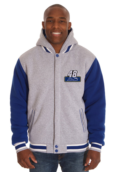 Jimmie Johnson Two-Tone Reversible Fleece Hooded Jacket - Gray/Royal