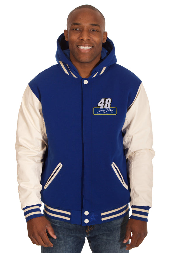 Jimmie Johnson Two-Tone Reversible Fleece & PU Leather Hooded Jacket - Royal/Cream - JH Design