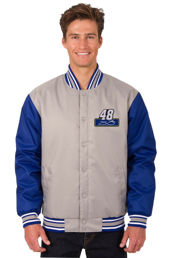 Jimmie Johnson Poly Twill Varsity Jacket - Gray/Royal - JH Design