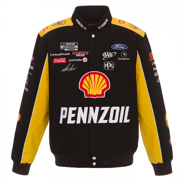 2021 Joey Logano Shell/Pennzoil Full-Snap Twill Uniform Jacket - Black/Yellow - JH Design