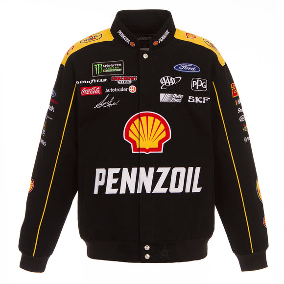 2018 Joey Logano Pennzoil Nascar Twill Jacket - Black - JH Design