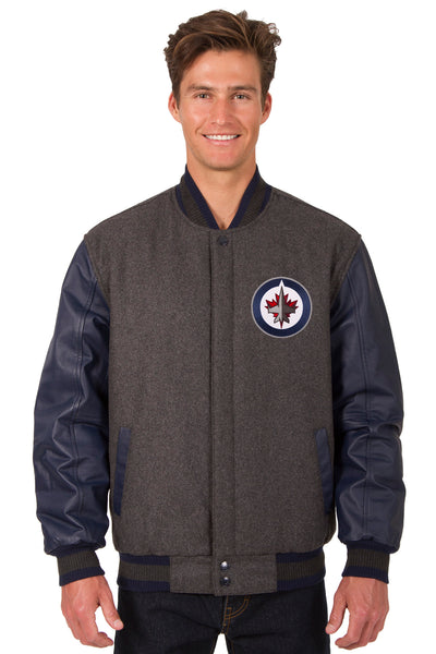 Winnipeg Jets Wool & Leather Reversible Jacket w/ Embroidered Logos - Charcoal/Navy
