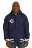 Winnipeg Jets Two-Tone Reversible Fleece Hooded Jacket - Gray/Navy - JH Design