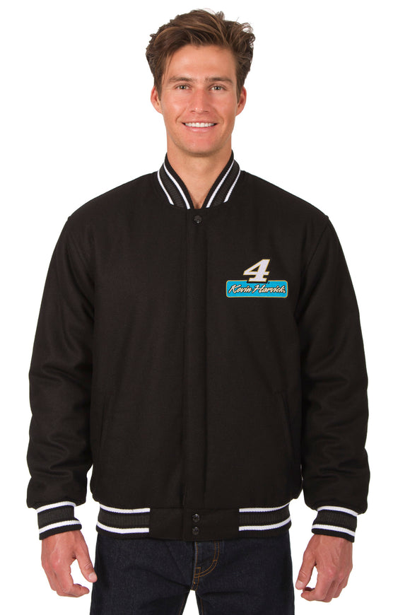 Kevin Harvick Wool Varsity Jacket - Black - JH Design