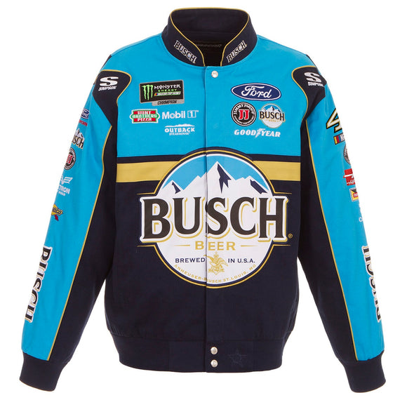 2018 Kevin Harvick Busch Twill Nascar Uniform Jacket - Blue - JH Design