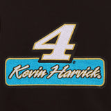 Kevin Harvick Two-Tone Reversible Fleece & PU Leather Hooded Jacket - Black/Cream - JH Design