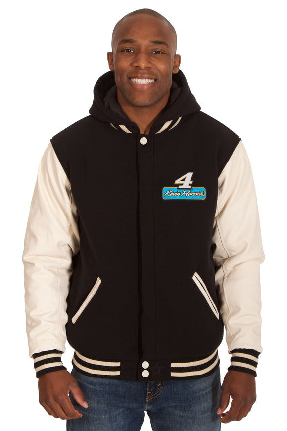 Kevin Harvick Two-Tone Reversible Fleece & PU Leather Hooded Jacket - Black/Cream