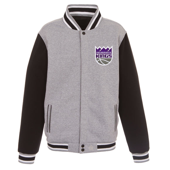 Sacramento Kings Two-Tone Reversible Fleece Jacket - Gray/Black - JH Design