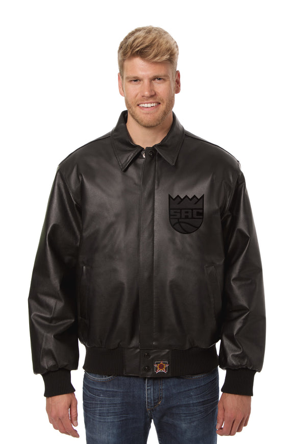 Sacramento Kings Full Leather Jacket - Black/Black - JH Design